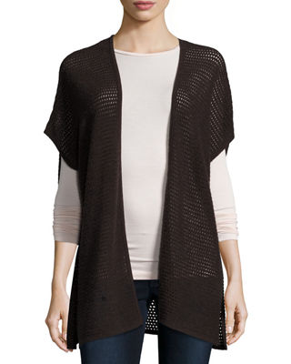 Short-Sleeve Open-Weave Cashmere Cardigan