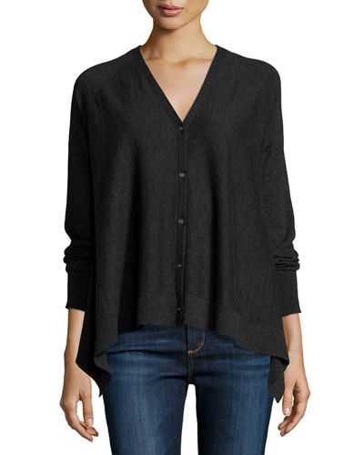 Superfine Button-Front Draped Cashmere Cardigan