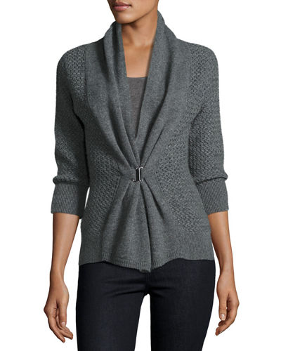 Neiman Marcus Cashmere Collection Open-Weave Buckle-Front