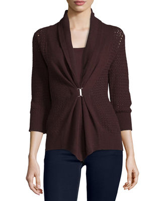 Open-Weave Buckle-Front Cashmere Cardigan Top Reviews