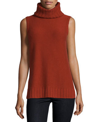 Sleeveless Mixed-Stitch Cashmere Turtleneck