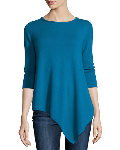 Three-Quarter-Sleeve Asymmetric Cashmere Top