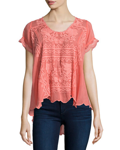 Johnny Was Collection Delamo Short-Sleeve Flair Blouse, Women's