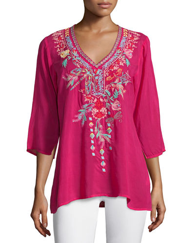 Dragonfly 3/4-Sleeve Embroidered Blouse, Plus Size