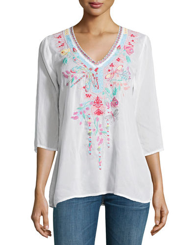 Dragonfly 3/4-Sleeve Embroidered Blouse