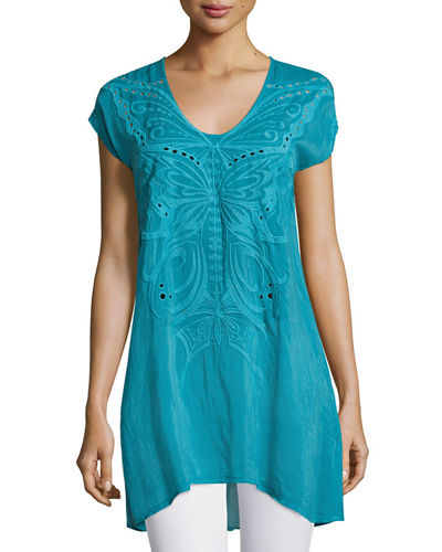 Butterfly Flo Cap-Sleeve Tunic, Plus Size