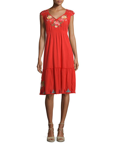 Cecilia V-Neck Floral-Embroidered Dress, Plus Size