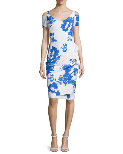 Custom Collection: Julia Cold-Shoulder Ruched Printed Cocktail Sheath Dress