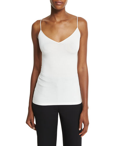 Demi V-Neck Fitted Tank, Ivory