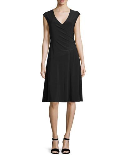 Cap-Sleeve Faux-Wrap Dress