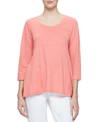 Eileen Fisher 3/4-Sleeve Scoop-Neck Organic Linen Tee, Plus Size