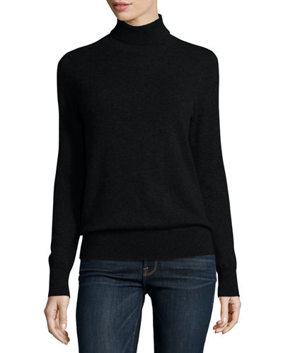 Neiman Marcus Cashmere Collection Classic Long-Sleeve Cashmere