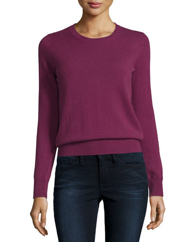 Long-Sleeve Crewneck Cashmere Sweater