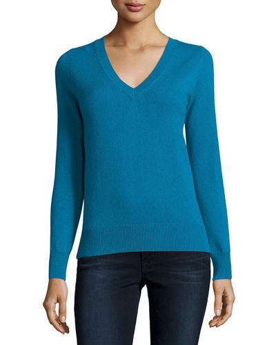 Long-Sleeve V-Neck Cashmere Top, Plus Size