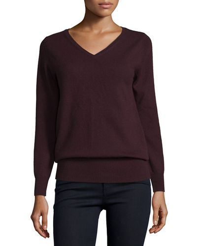 Long-Sleeve V-Neck Relaxed-Fit Cashmere Sweater, Plus Size