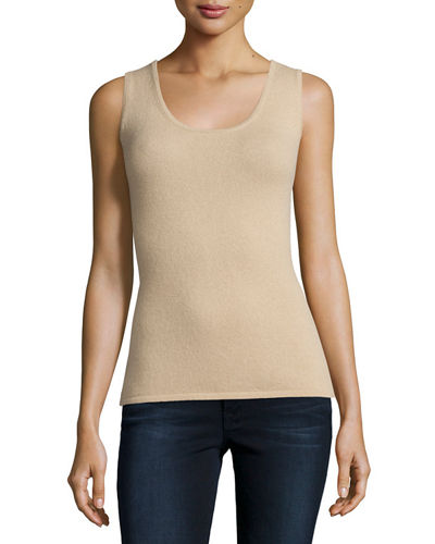 Scoop-Neck Cashmere Tank, Plus Size