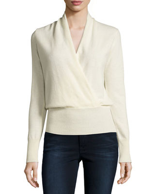 Cashmere Faux-Wrap Sweater