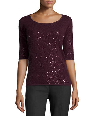 Half-Sleeve Sequin Cashmere Sweater