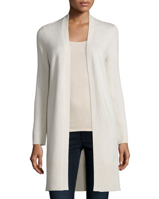 Neiman Marcus Cashmere Collection Long Rib-Trimmed Open-Front ...