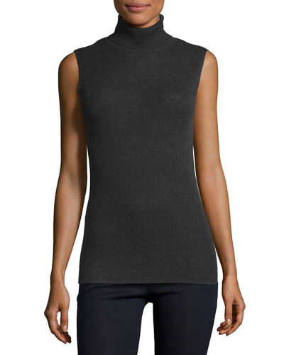 Superfine Sleeveless Ribbed Cashmere Turtleneck