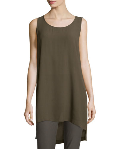 Split-Hem Silk Georgette Tunic, Petite