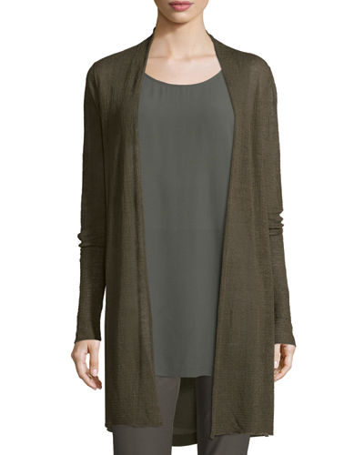 Open-Front Sheer Hemp Grid Long Cardigan, Plus Size