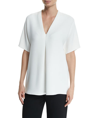 Crepe Short-Sleeve Double-V Top