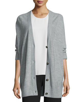 Double-Face Mesh-Panel Wool/Silk Cardigan Cheap