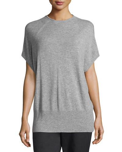 High-Neck Short-Sleeve Cashmere Pullover