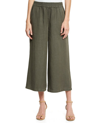 Eileen Fisher Elastic-Waist Wide Cropped Pants