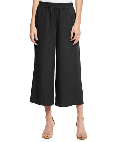 Elastic-Waist Wide Cropped Pants, Petite