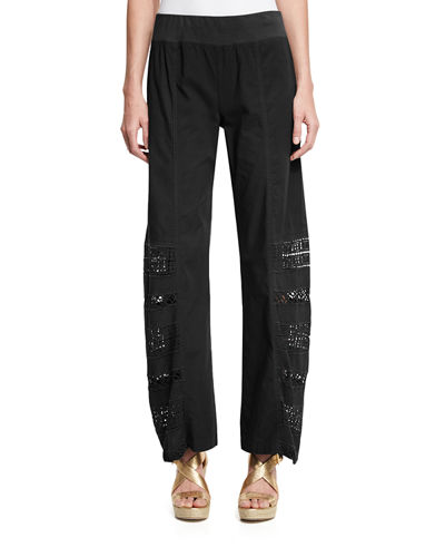 Mei Embroidered Wide-Leg Pants, Plus Size