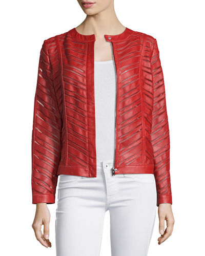RED LEATHER STRIPS JACKET