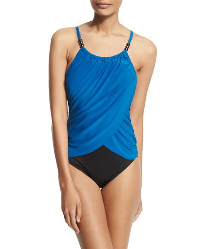 Lisa Draped-Front Underwire One-Piece Swimsuit