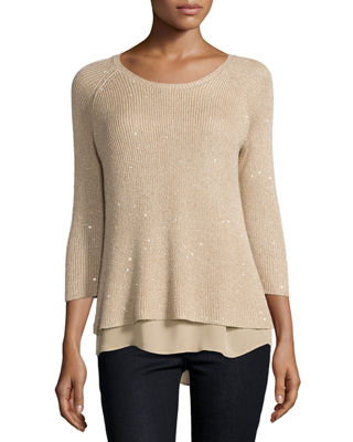 Sequin Sweater w/ Chiffon Trim