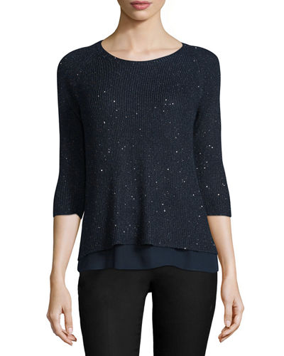 Neiman Marcus Cashmere Collection Sequin Sweater w/ Chiffon