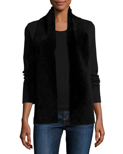 Merino Wool/Cotton Cardigan w/ Shearling Trim