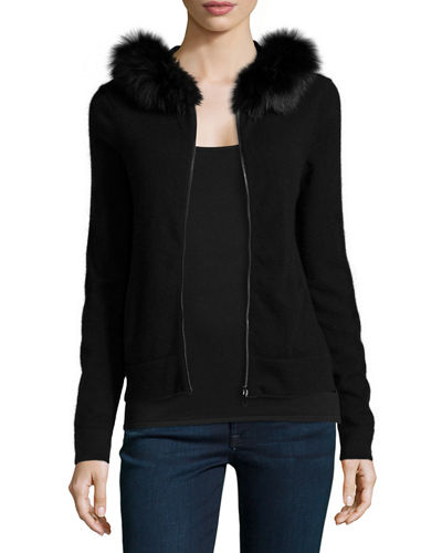 Neiman Marcus Cashmere Collection Fox-Fur-Trim Cashmere Hoodie
