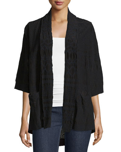 Tribal Half-Sleeve Embroidered Kimono Jacket