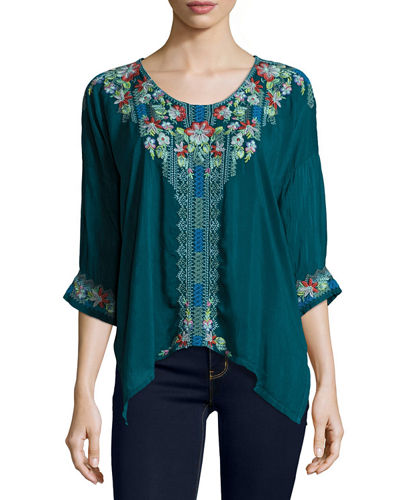 Rosa Embroidered Dolman-Sleeve Blouse