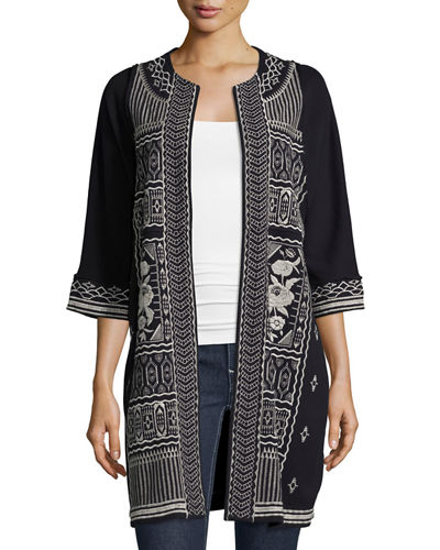 Taylor Half-Sleeve French Terry Embroidered Coat, Plus Size