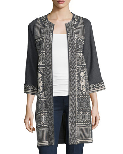 Taylor Half-Sleeve French Terry Embroidered Coat