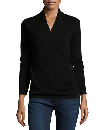 Cashmere Belted Faux-Wrap Sweater
