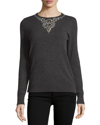 Jeweled Cashmere Crewneck Sweater