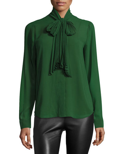Pleated Tie-Neck Blouse