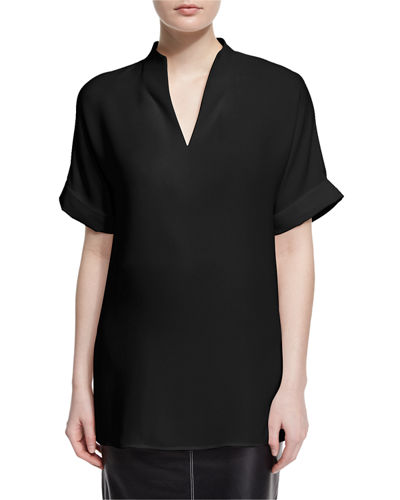 Lafayette 148 New York Josie Short-Sleeve Silk Blouse,