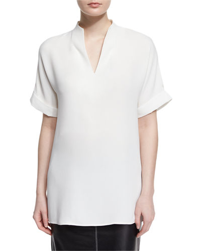 Josie Short-Sleeve Silk Blouse, Plus Size