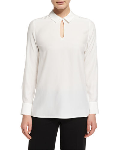 Shay Long-Sleeve Silk Keyhole Blouse, Plus Size