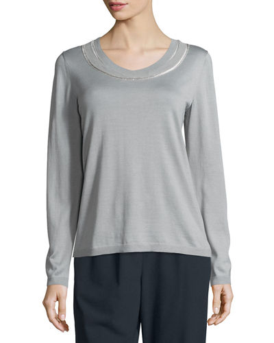 Double Scoop-Neck Silk-Blend Sweater, Plus Size