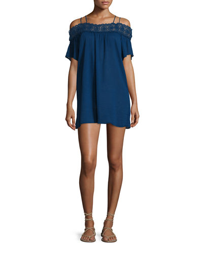 Island Fare Embroidered-Trim Coverup Dress